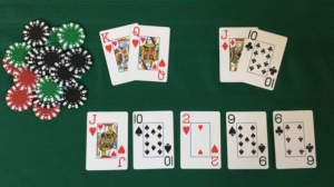 texas hold'em hand and table